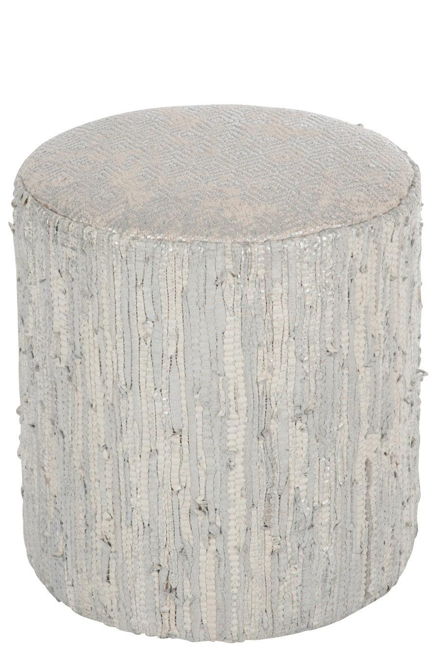 pouf brillant cuir argent/gris 40x40x43cm J-Line by Jolipa 24975