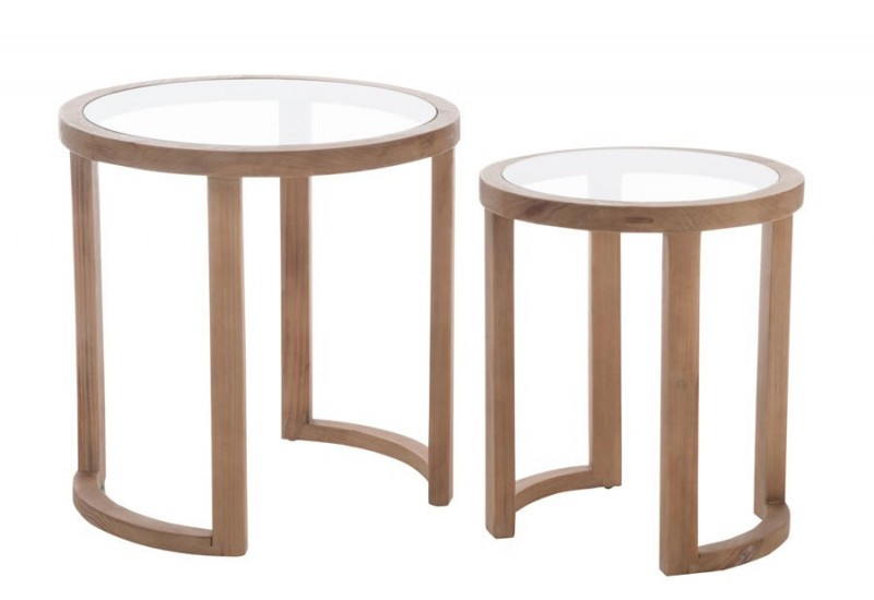 set de 2 tables gigognes rondes bois verre naturel. Black Bedroom Furniture Sets. Home Design Ideas