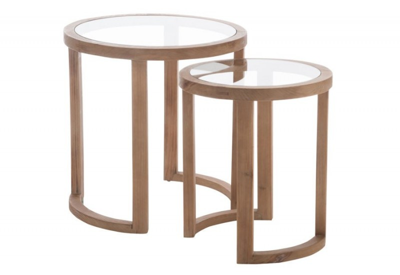 set de 2 tables gigognes rondes bois verre naturel 61x61x62cm j lin. Black Bedroom Furniture Sets. Home Design Ideas