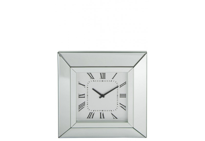 horloge chiffre romain miroir argent 51x51x5cm j line by. Black Bedroom Furniture Sets. Home Design Ideas