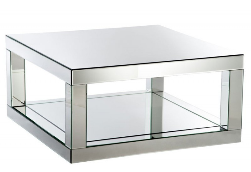 Table de salon carr e moderne miroir 90x90x45cm j line by for Miroir 90 x 170
