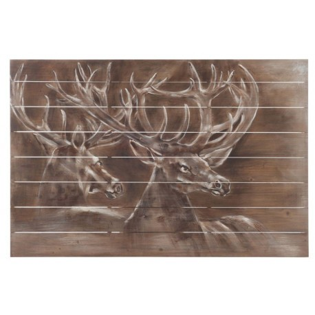 D co murale 2 cerfs bois marron 80x3x120cm j line by for Decoration murale j line