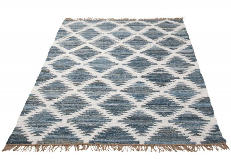 tapis denim jute chindi bleu blanc beige 200x130cm j line by jolipa. Black Bedroom Furniture Sets. Home Design Ideas