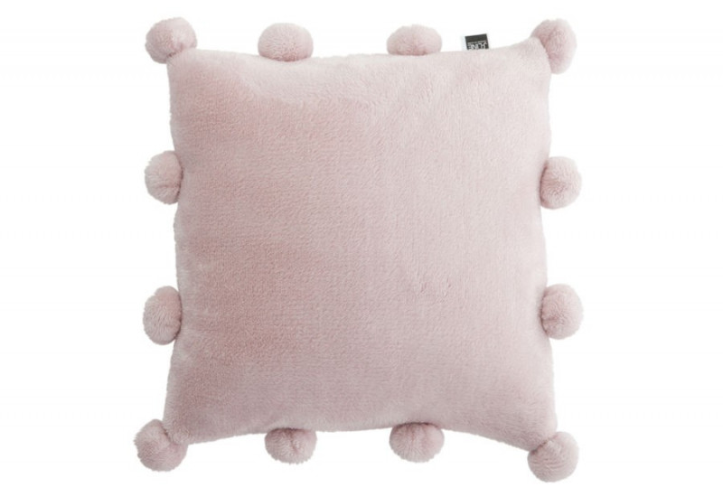 coussin 12 pompons vieux rose 40x40cm j line by jolipa 25372. Black Bedroom Furniture Sets. Home Design Ideas