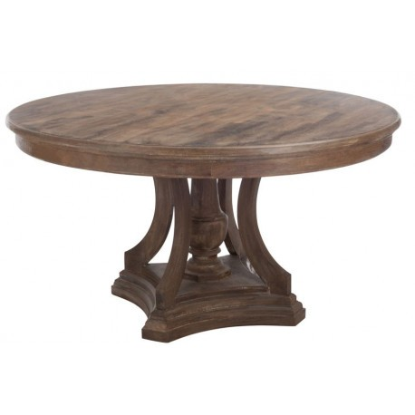 Table a manger ronde bois marron 150x80cm j line by jolipa for Table a manger ronde bois