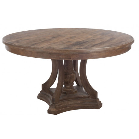 Table a manger ronde bois marron 150x80cm j line by jolipa for Table a manger ronde