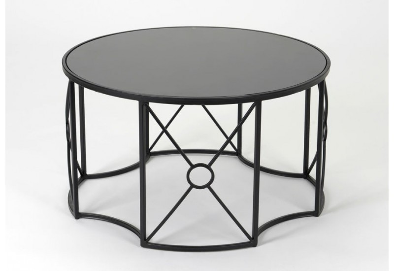 table basse ronde en m tal noir r tro amadeus 25664. Black Bedroom Furniture Sets. Home Design Ideas