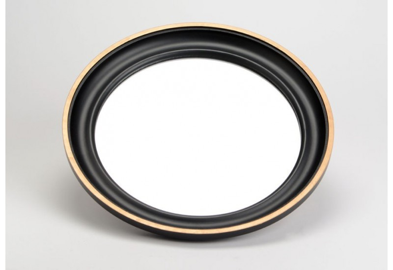 Grand miroir rond noir et or amadeus 25726 for Miroir rond grand