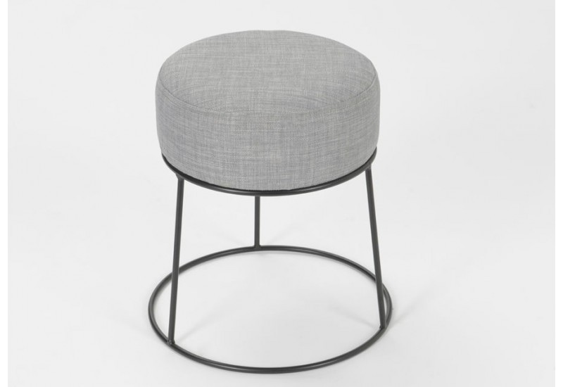 petit pouf rond tabouret moderne gris fonc amadeus 25838. Black Bedroom Furniture Sets. Home Design Ideas