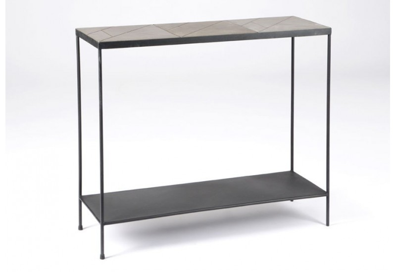 console art d co gris m tal et b ton stone amadeus 25877. Black Bedroom Furniture Sets. Home Design Ideas