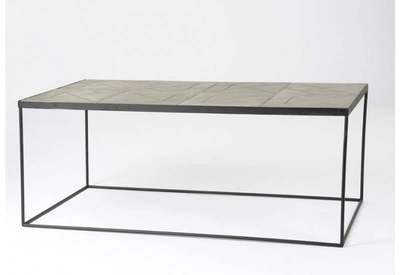 table basse rectangulaire art d co m tal et bois gris stone amadeus. Black Bedroom Furniture Sets. Home Design Ideas