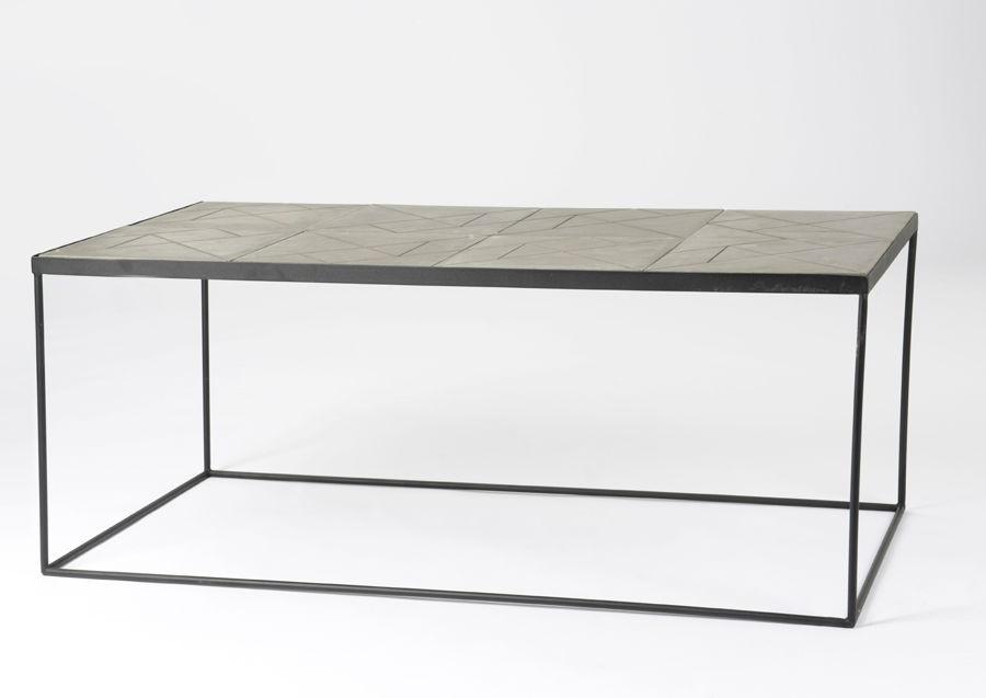 Table basse rectangulaire art déco métal et bois gris Stone