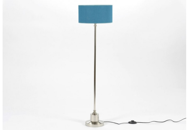 lampe fine chrome 115 cm et abat jour en lin bleu canard. Black Bedroom Furniture Sets. Home Design Ideas