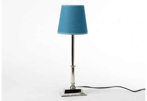 lampe base carre chrome et abat jour lin bleu canard. Black Bedroom Furniture Sets. Home Design Ideas