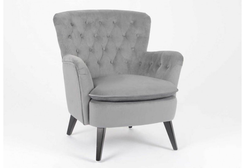fauteuil classique chic capitonn en velours gris fonc amadeus 26438. Black Bedroom Furniture Sets. Home Design Ideas