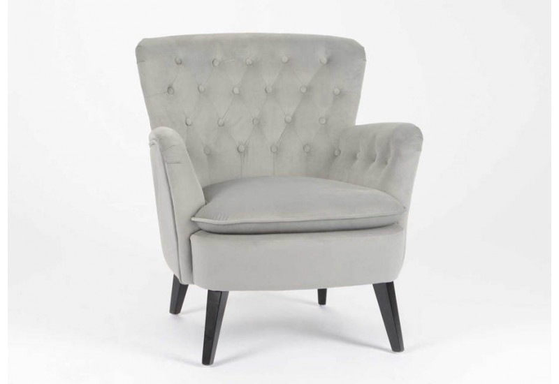 fauteuil classique chic capitonn en velours gris clair amadeus 26439. Black Bedroom Furniture Sets. Home Design Ideas