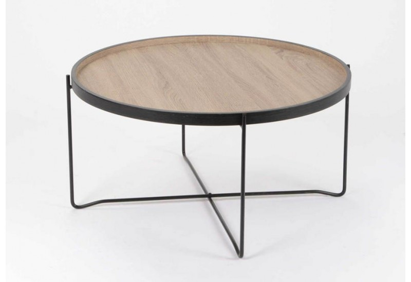 Table basse ronde en m tal effet bois amadeus 26518 - Table basse scandinave ronde ...