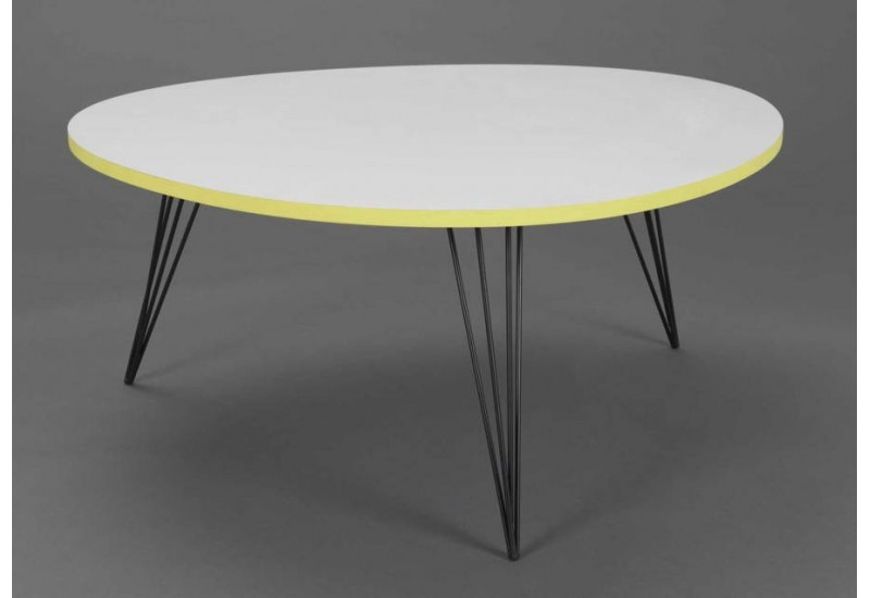 Table basse scandinave ronde jaune et blanc amadeus am 124670 - Table basse scandinave ronde ...