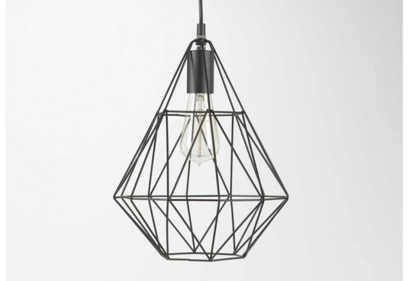 Grande suspension forme jupe en m tal noir filaire amadeus for Suspension luminaire filaire