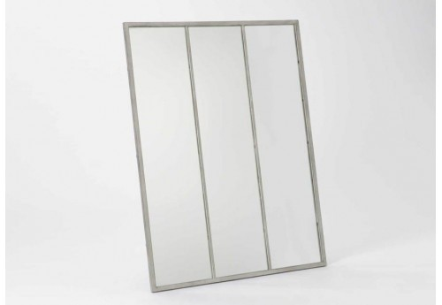 Grand miroir rectangulaire en m tal gris amadeus 26719 for Grand miroir gris