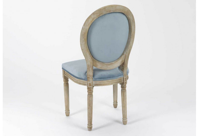 Chaise m daillon en velours bleu clair lot de 2 amadeus 26767 - Chaise velours bleu ...