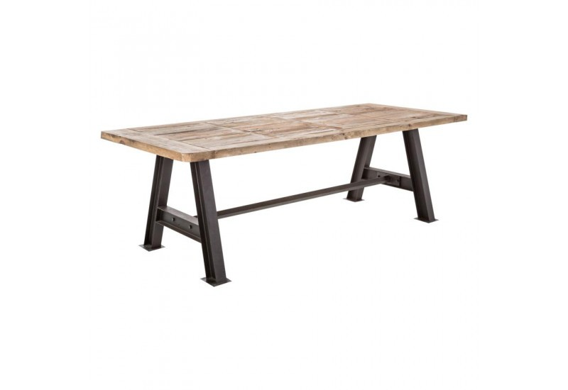 Table manger plateau sculpt e en bois brut naturel et for Table a manger bois brut