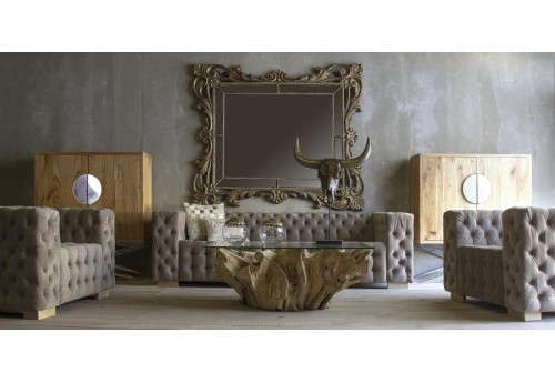 Fauteuil cubique style Chesterfield en velours gris Vical Home