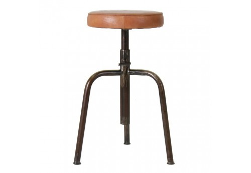 tabouret de bar en m tal avec assis en cuir camel vical home 27875. Black Bedroom Furniture Sets. Home Design Ideas