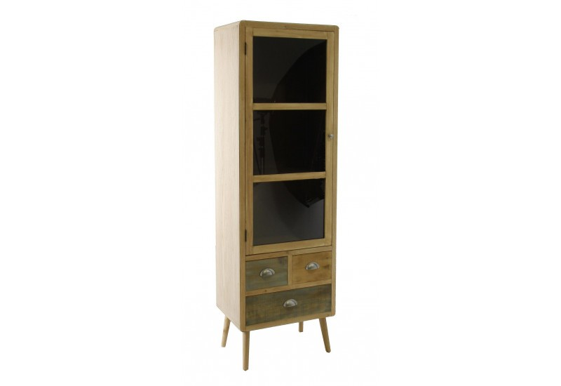 vitrine bicolore 1 porte 2 tiroirs scandinave vical home 27878. Black Bedroom Furniture Sets. Home Design Ideas