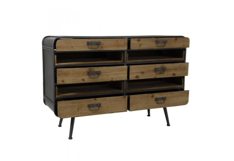 commode industrielle 6 tiroirs m tal et bois vical home 27909. Black Bedroom Furniture Sets. Home Design Ideas