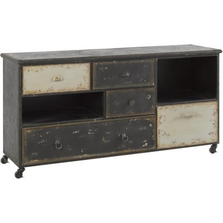 buffet indus m tal vieilli noir et blanc antique sur roues. Black Bedroom Furniture Sets. Home Design Ideas