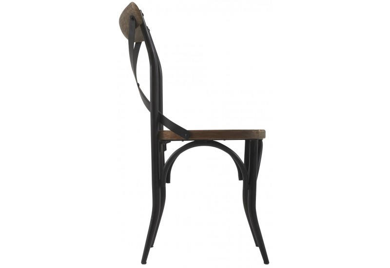 chaise de bar bistrot bois et m tal parnasse noire 51x52xh90cm lot. Black Bedroom Furniture Sets. Home Design Ideas