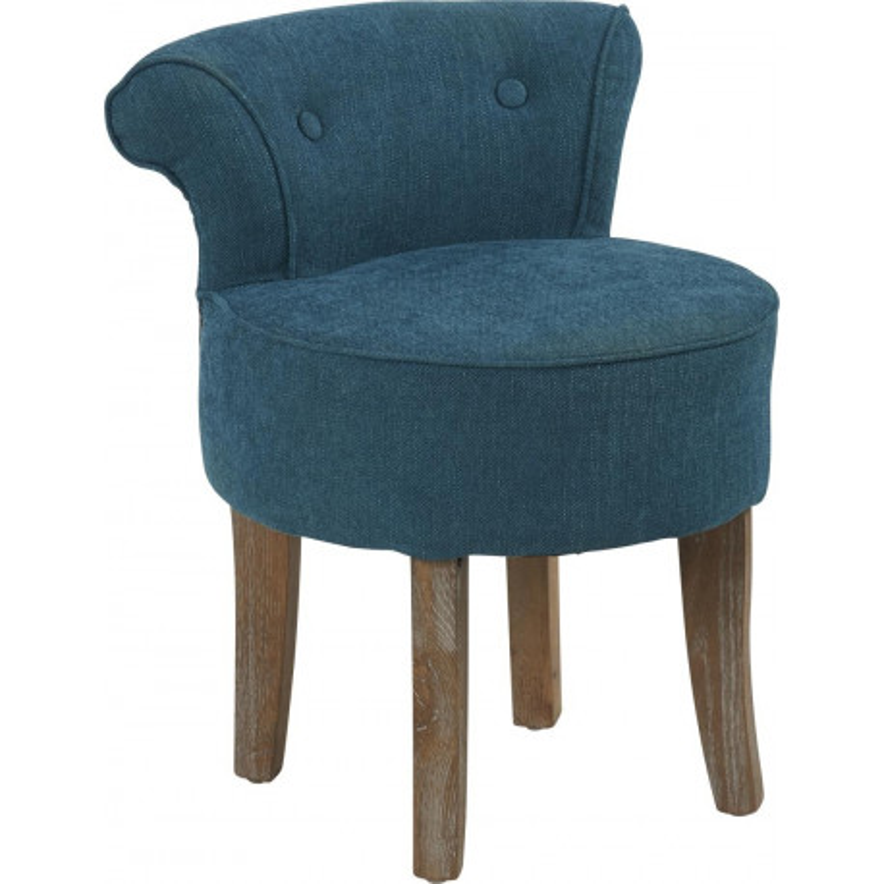 tabouret crapaud en lin bleu canard 48x44xh56 5cm hanjel 28160. Black Bedroom Furniture Sets. Home Design Ideas
