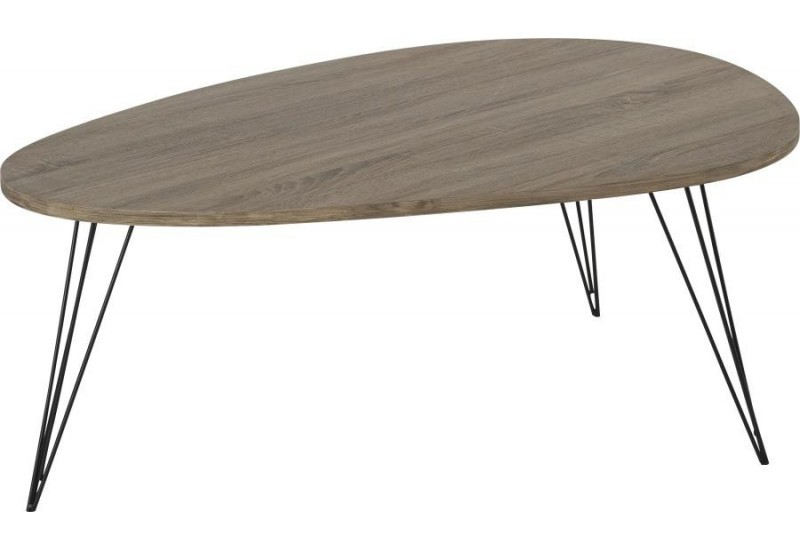 Table basse scandinave bois et m tal johana 112x80xh40cm for Table basse scandinave fly