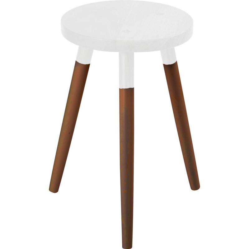 tabouret scandinave bicolore blanc d28xh45cm lot de 2 hanjel 28223. Black Bedroom Furniture Sets. Home Design Ideas