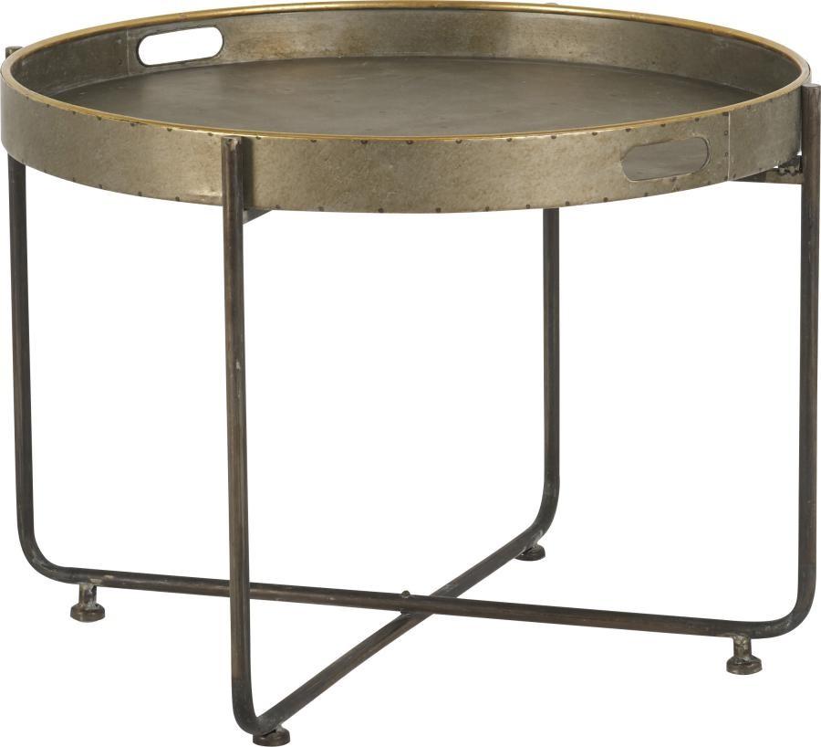 acheter en ligne 5f345 25058 Table Basse ronde en métal cuivré et noir vieilli D75xH45cm