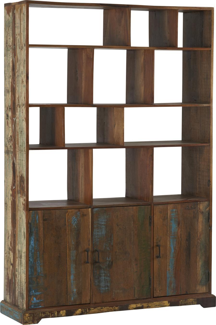 Biblioth Que En Bois Recycl Et Poign E Fer Forg 127x38xh183cm Han  # Bibliotheque Fer Forge