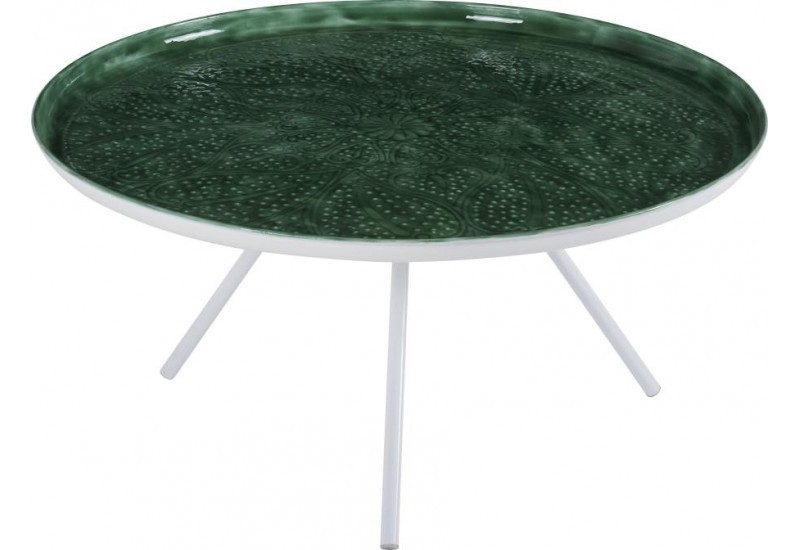 Table Basse Ronde Blanche Plateau Emaille Vert D80cm