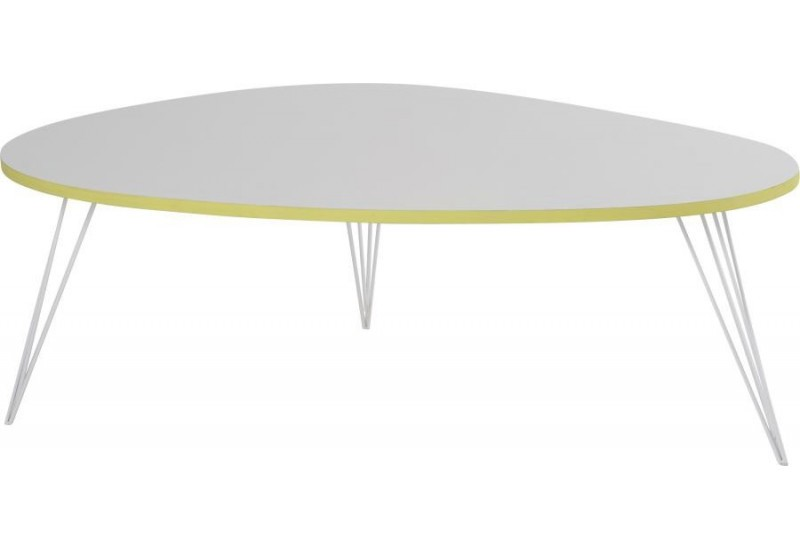 Table basse vegas scandinave blanche 112x80xh40cm hanjel 28429 for Table scandinave blanche