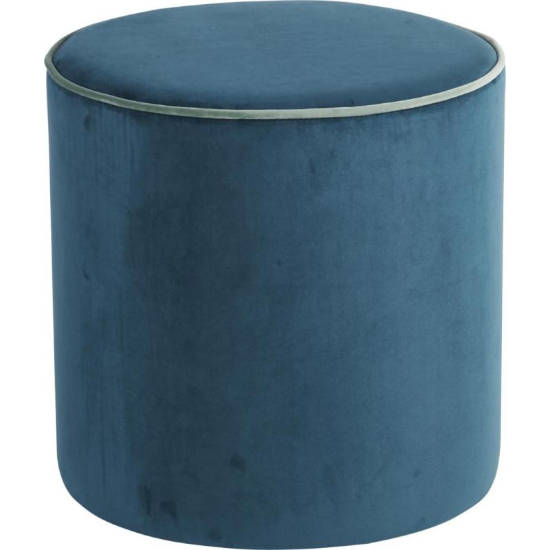 pouf rond velours bleu canard vert de gris d40xh40cm lot de 2 han. Black Bedroom Furniture Sets. Home Design Ideas