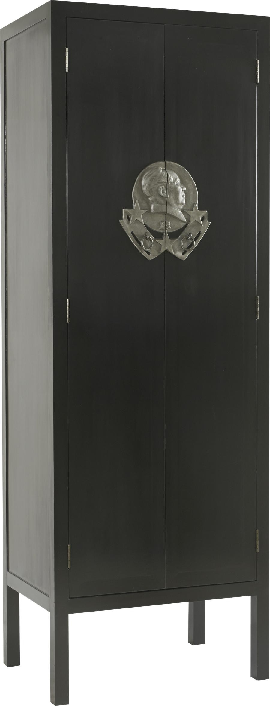 Armoire 2 Portes Asiatique Hong En Bois Vernis Noir 80x56xH230cm Ha.
