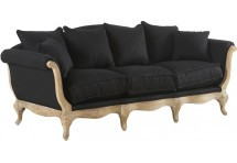 Canapé Chesterfield 3 places Noir Raye/Hêtre Antic 230x96xH90cm