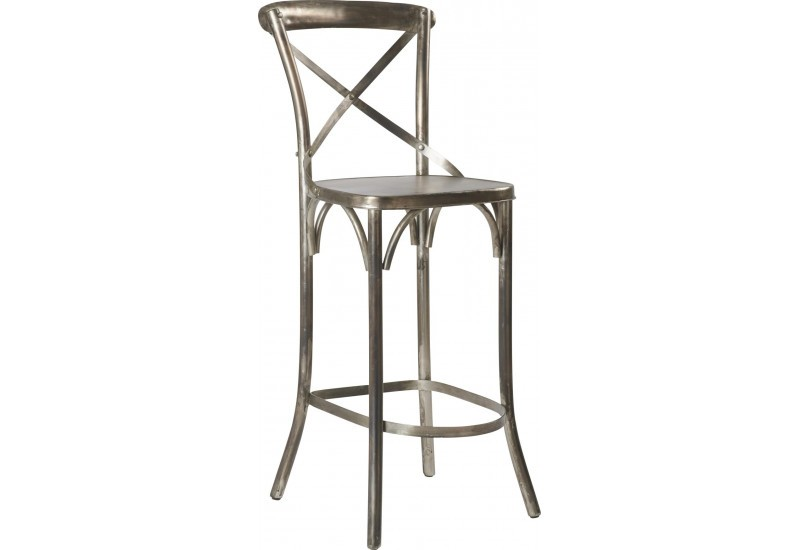 Tabouret Bar Bistrot gris Antic 47x40xH116cm (Lot de 2)