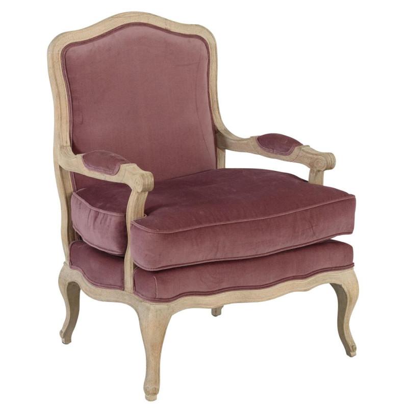 Fauteuil berg re de charme velours rose poudre 72x69xh96cm for Housse de fauteuil bergere