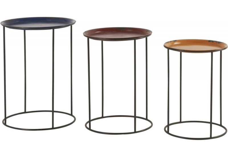 Lot de 3 tables gigognes marron Ludics