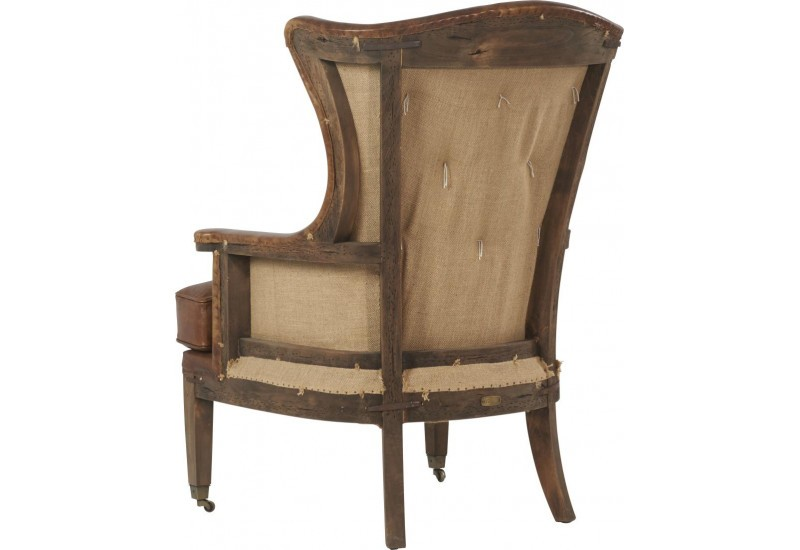 fauteuil vintage en cuir v ritable marron et toile de jute dalton 7. Black Bedroom Furniture Sets. Home Design Ideas