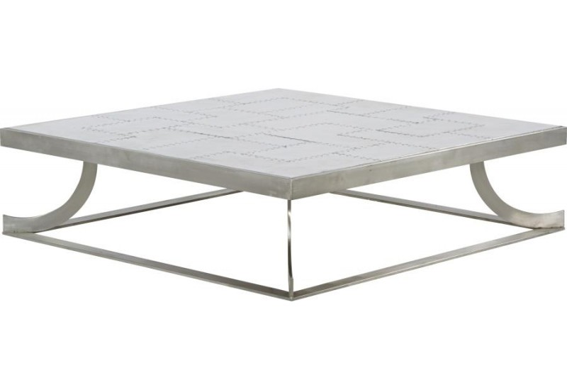 Table basse carré design moderne en alu Saturne 130x130xH35cm
