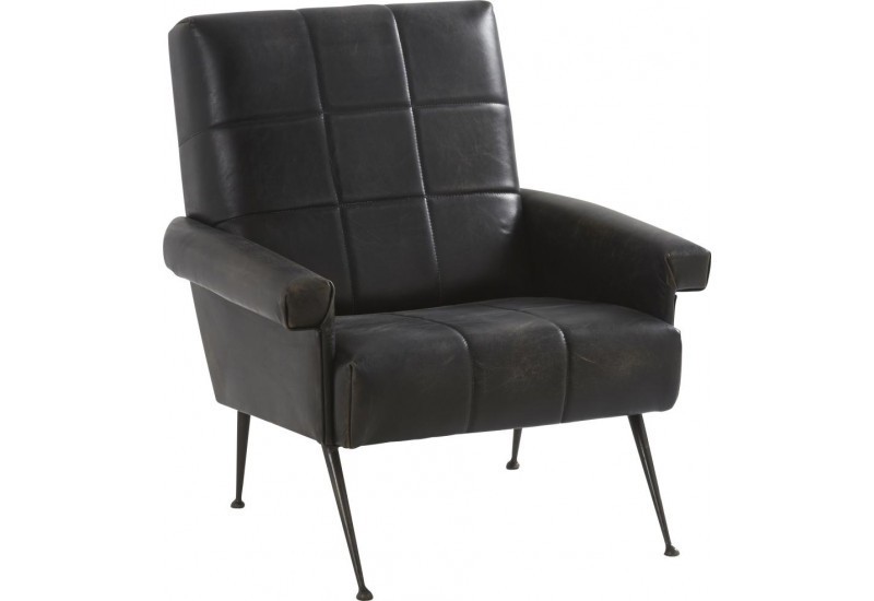 fauteuil design v ritable cuir et pieds m tal fabio 72x75xh80cm han. Black Bedroom Furniture Sets. Home Design Ideas