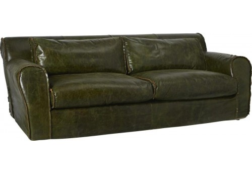 canap williams 3 places cuir vert olive 231x109xh75cm hanjel 28059. Black Bedroom Furniture Sets. Home Design Ideas