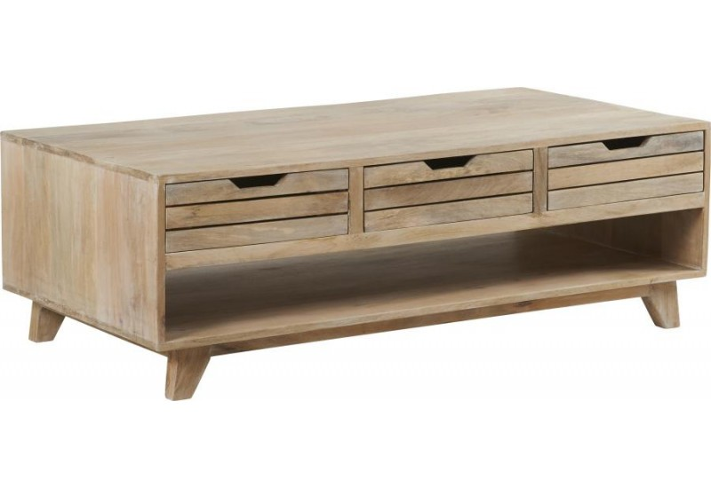 Table Basse style nature manguier blanchie135x70xH45cm